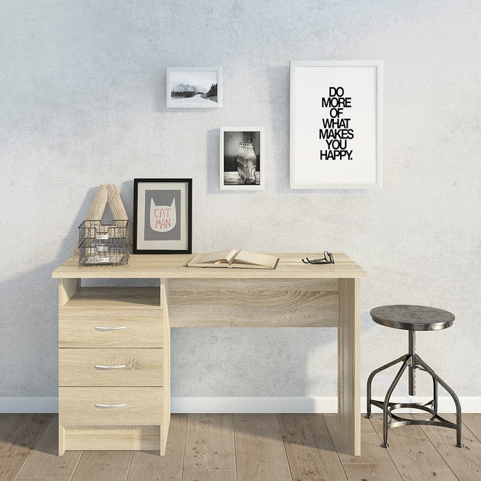 Simplicity 3 Drawer Oak Home Office Desk - FurniComp