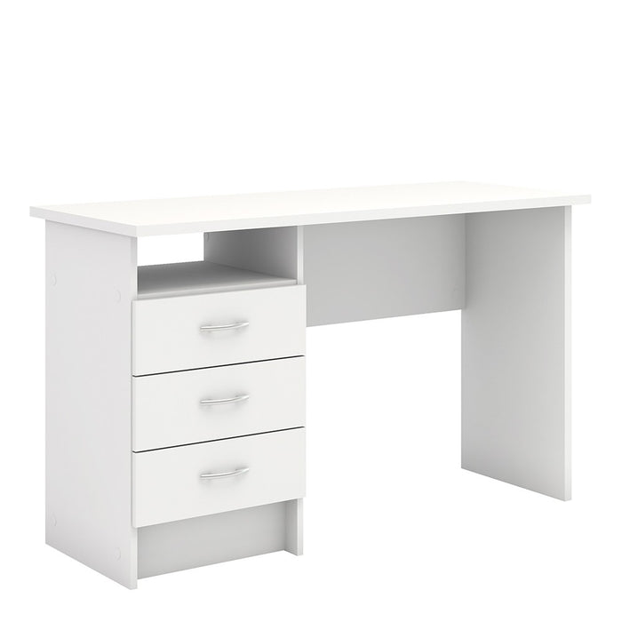 Simplicity 3 Drawer White Home Office Desk - FurniComp