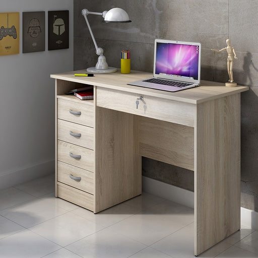 Simplicity 5 Drawer Oak Home Office Desk - FurniComp