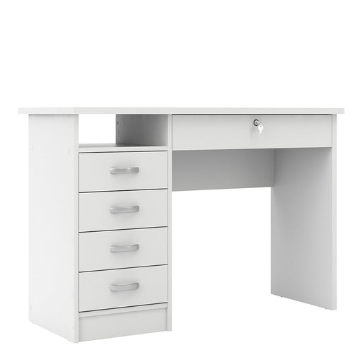 Simplicity 5 Drawer White Home Office Desk. Small White Computer Desk