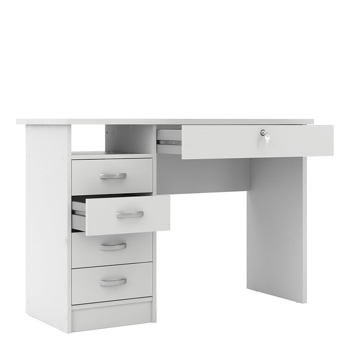 Simplicity 5 Drawer White Home Office Desk - FurniComp