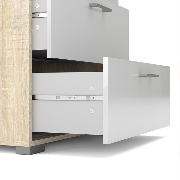 Sleek 4 Drawers Oak with White High Gloss Chest of Drawer - FurniComp
