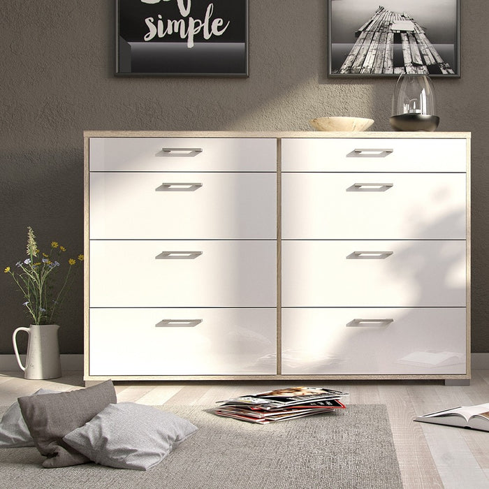Sleek 8 Drawers (4+4) Oak with White High Gloss Chest of Drawer - FurniComp