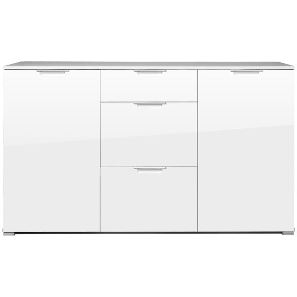 Sofia 2 Door 3 Drawer White Gloss Sideboard - FurniComp