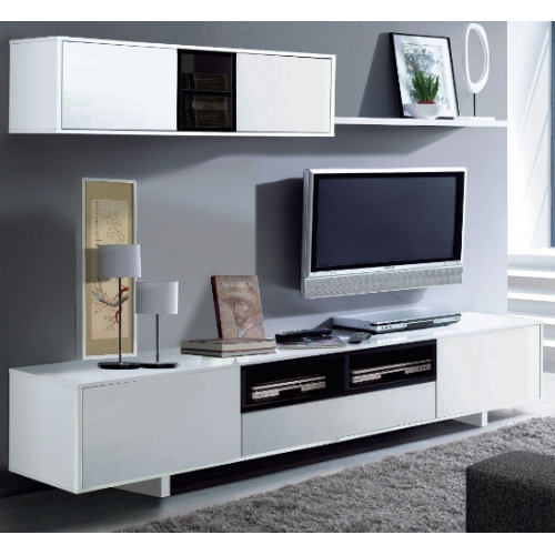 Sophia White Gloss TV Unit With Wall Unit - FurniComp