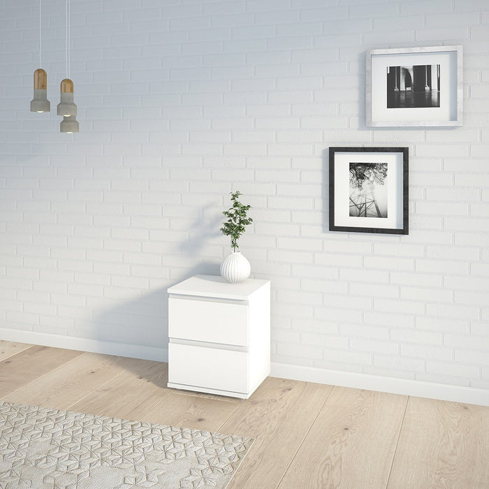 Sorrento 2 Drawer White Bedside - FurniComp
