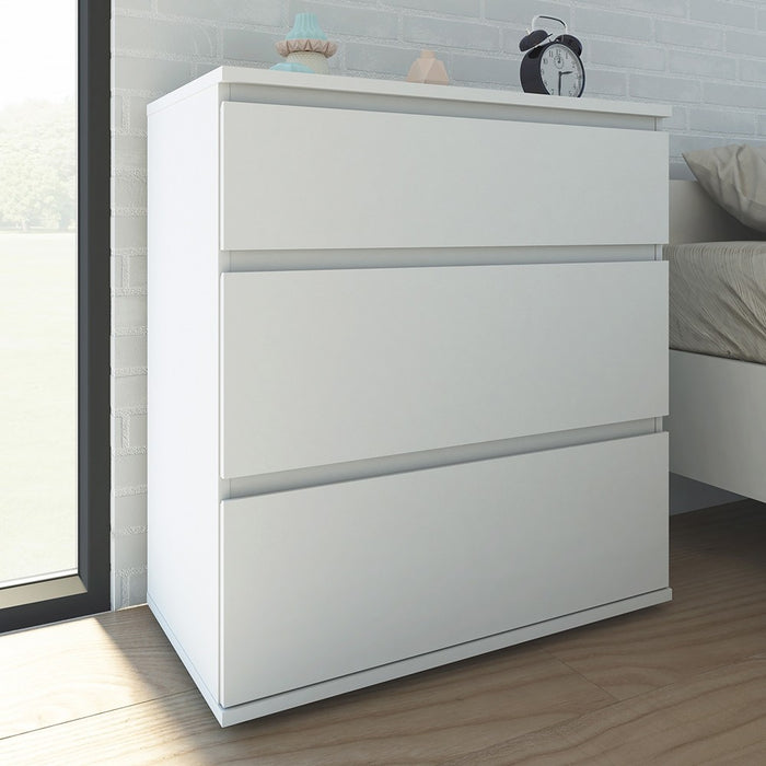 Sorrento 3 Drawers White Chest of Drawer - FurniComp