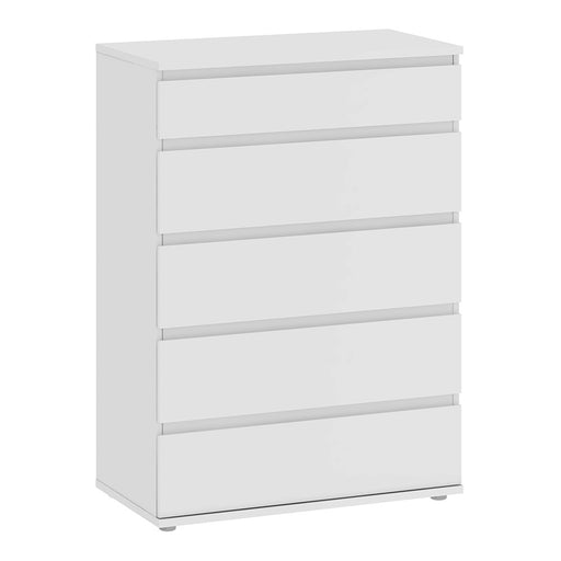 Sorrento 5 Drawers White Chest of Drawer - FurniComp