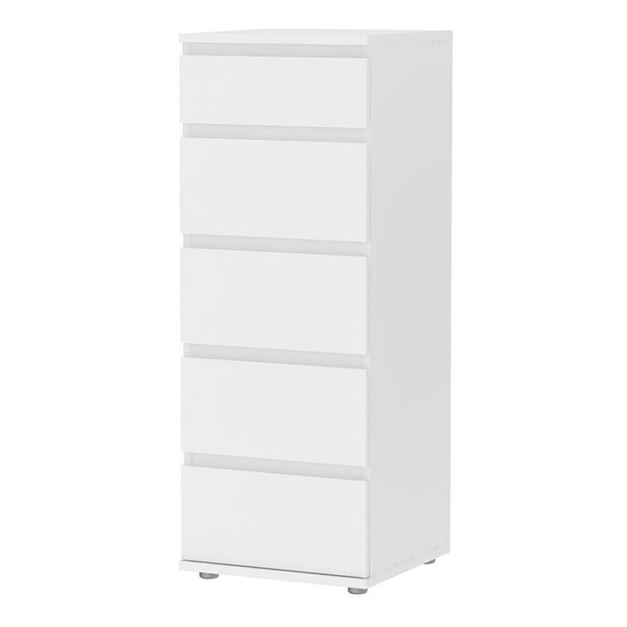 Sorrento 5 Drawers White Narrow Chest of Drawer - FurniComp