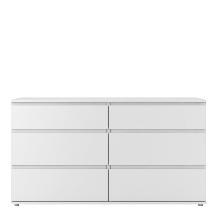 Sorrento 6 Drawers (3+3) White Wide Chest of Drawer - FurniComp