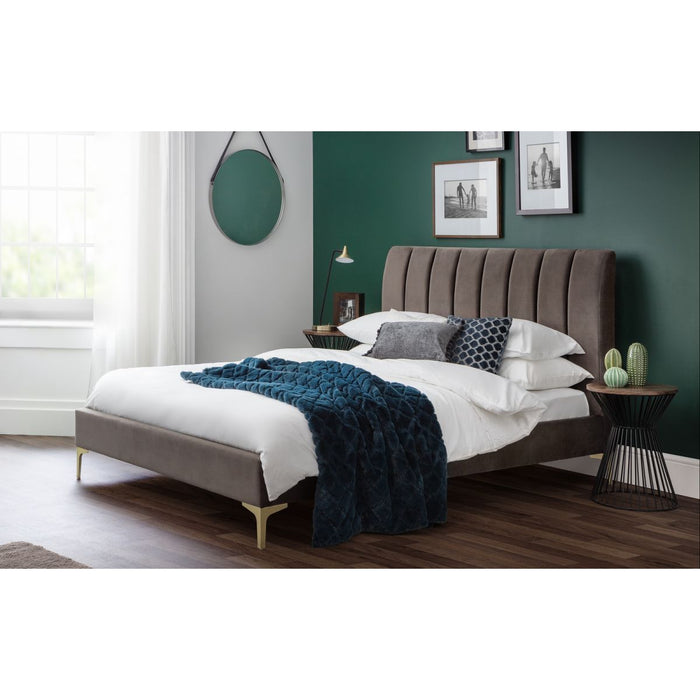 Sousa Grey Velvet Bed with Fluted Headboard - FurniComp