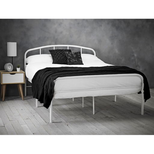 Spencer White Metal Frame Bed - FurniComp