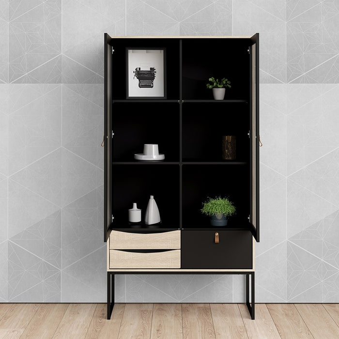 Stuttgart 2 Door 3 Drawer Matt Black and Oak China Display Cabinet - FurniComp