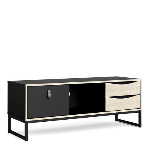 Stuttgart Matt Black and Oak 1 Door 2 Drawer TV Unit - FurniComp