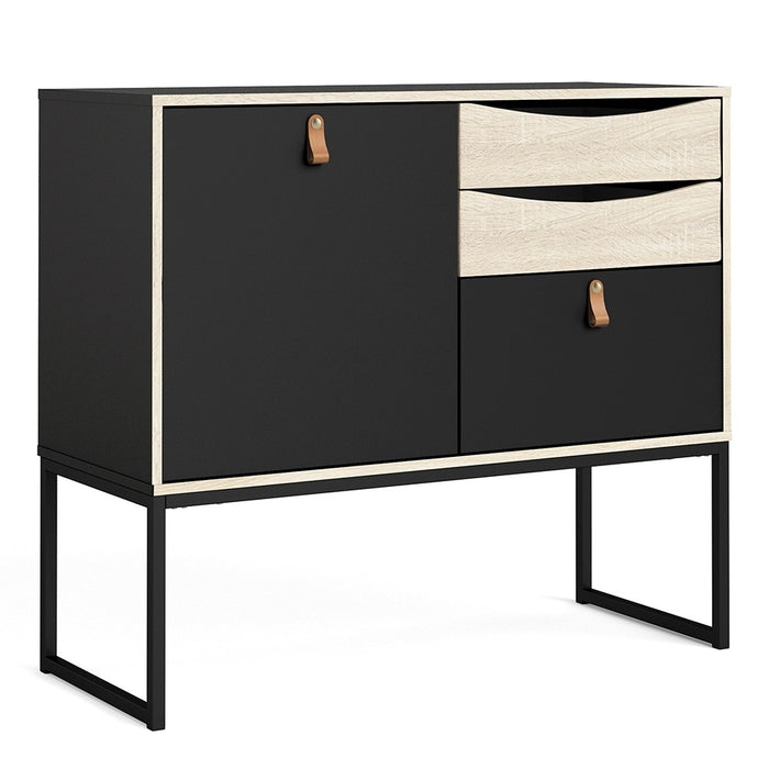 Stuttgart Matt Black and Oak 1 Door 3 Drawer Sideboard - FurniComp