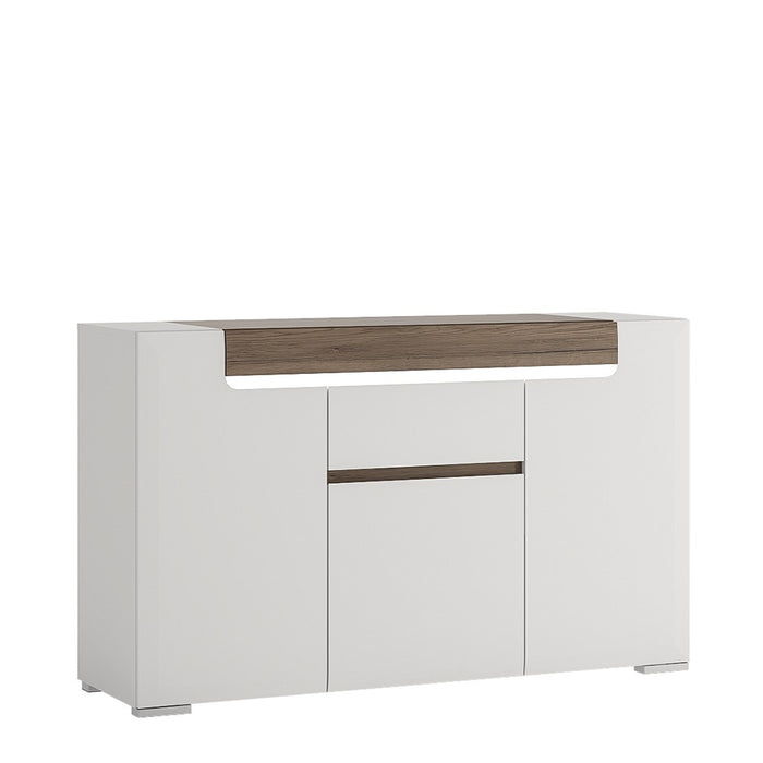 Sydney 3 Doors 1 Drawer White High Gloss and San Remo Oak Sideboard