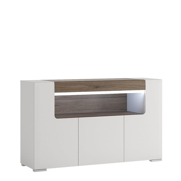 Sydney 3 Door White High Gloss and San Remo Oak Sideboard - FurniComp