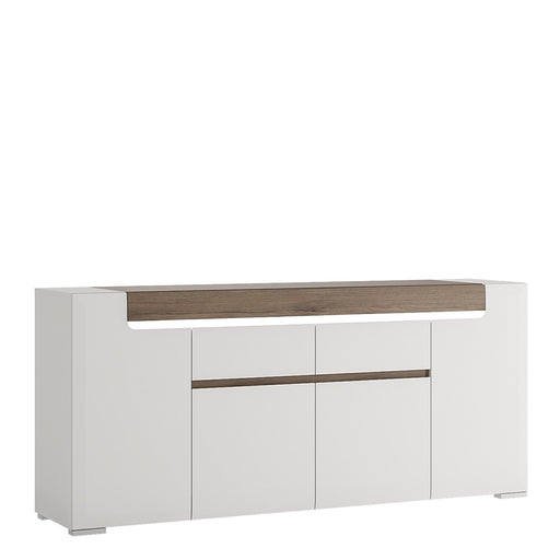 Sydney 4 Door 2 Drawer White High Gloss and San Remo Oak Sideboard