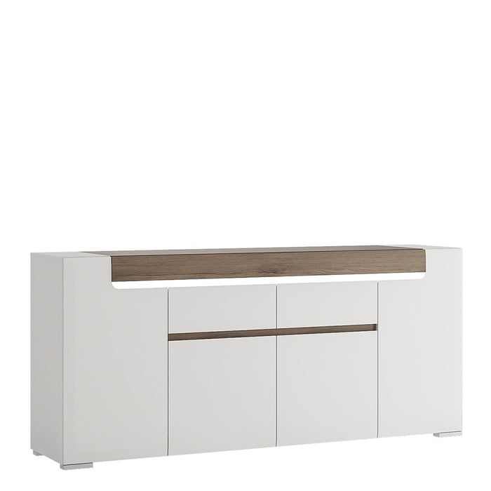 Sydney 4 Door 2 Drawer White High Gloss and San Remo Oak Sideboard - FurniComp