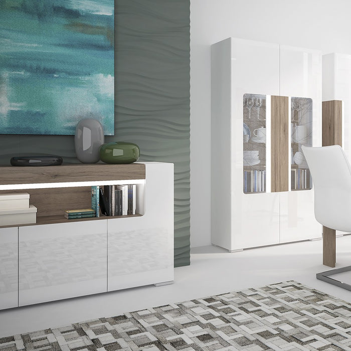 Sydney 3 Door White High Gloss and San Remo Oak Sideboard