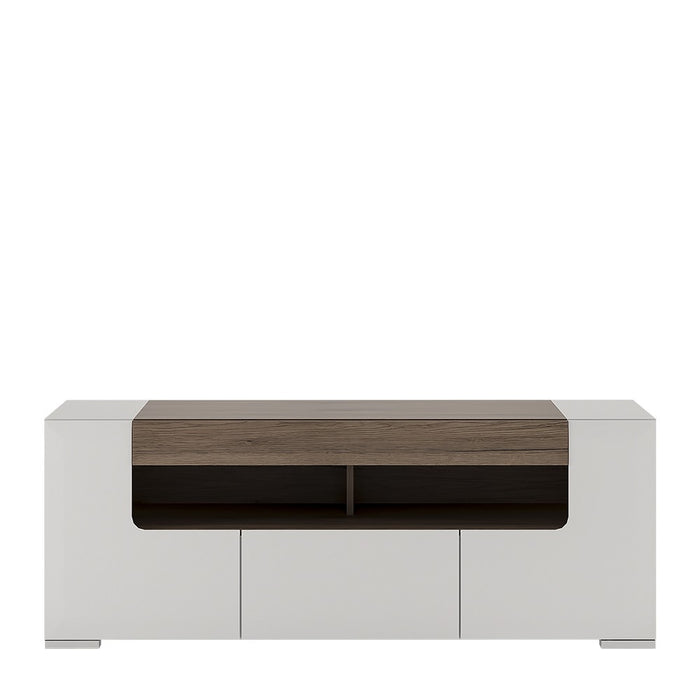 Sydney White Gloss and Oak 140cm wide TV Cabinet - FurniComp