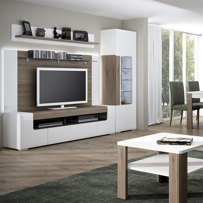 Sydney White Gloss and Oak 190cm wide TV Cabinet - FurniComp