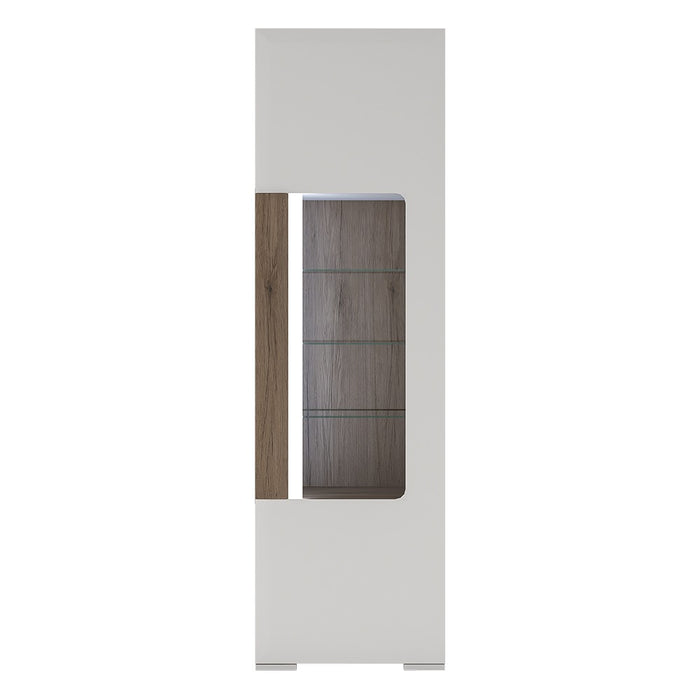Sydney White High Gloss and Oak Tall Narrow Glazed LED Display Cabinet - FurniComp