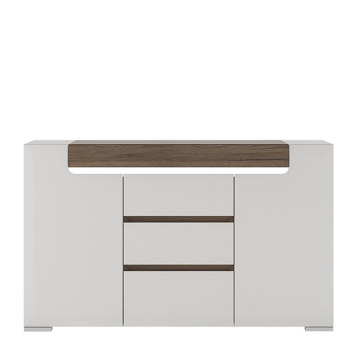Sydney 2 Doors 3 Drawer White High Gloss and San Remo Oak Sideboard - FurniComp