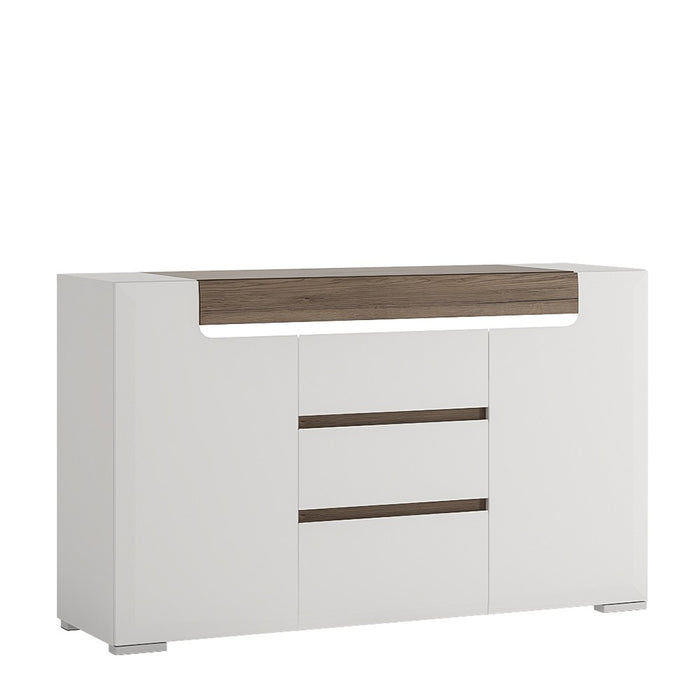 Sydney 2 Doors 3 Drawer White High Gloss and San Remo Oak Sideboard