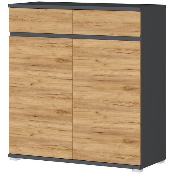Toronto 2 Door 2 Drawer Anthracite and Oak Shoe Cabinet - FurniComp