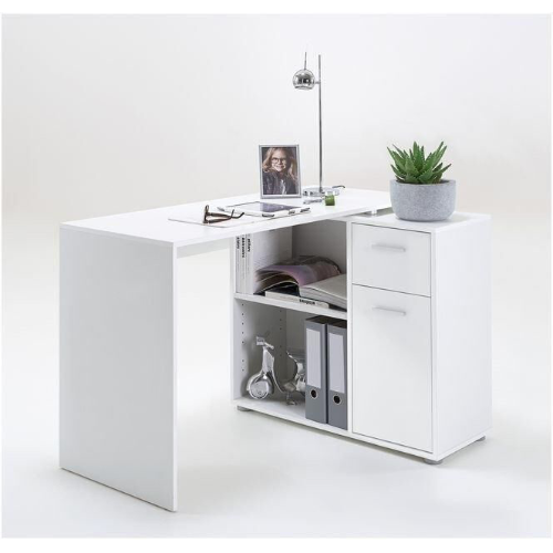 Turin White Flexible Corner Computer Desk Study Table Home Office Furniture - FurniComp