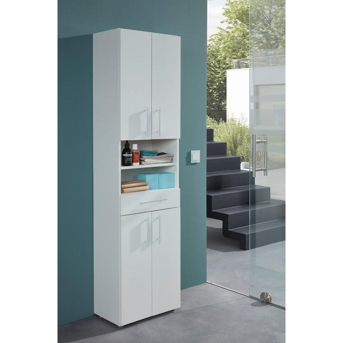 Universal Multi-Use White Tall 4 Door Storage Utility Cupboard - FurniComp