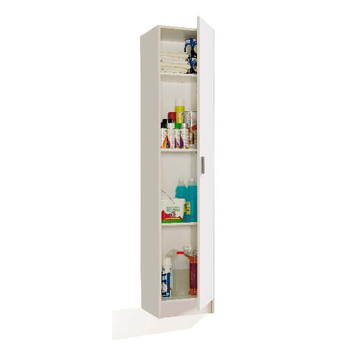 Universal Multi-Use Matte White Tall 1 Door Storage Utility Cupboard Cabinet - FurniComp