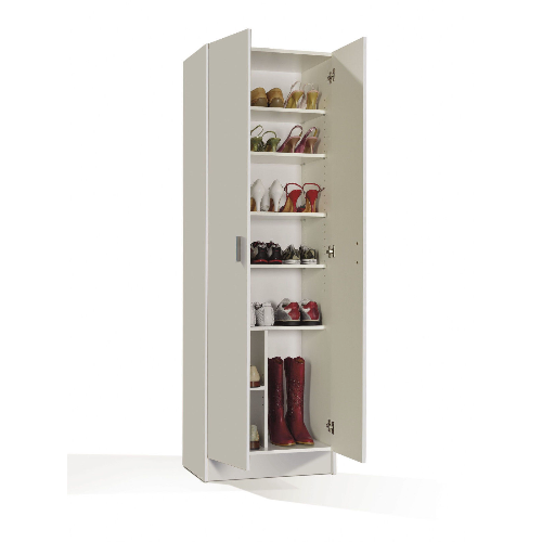 Universal Multi-Use White Tall 2 Door Storage Utility Cupboard Cabinet - FurniComp