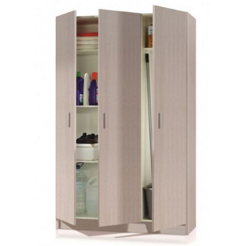 Universal Multi-Use Oak Tall 3 Door Storage Utility Cupboard Cabinet - FurniComp