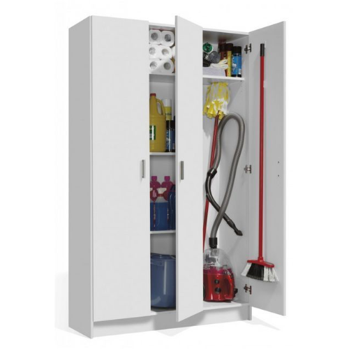 Universal Multi-Use White Tall 3 Door Storage Utility Cupboard Cabinet