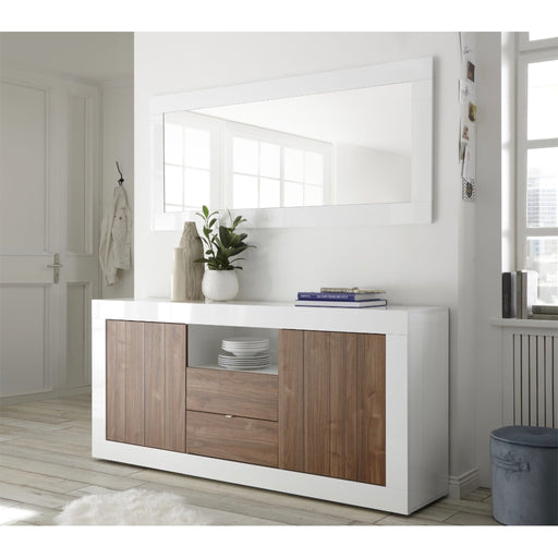 Walnut and White Gloss Sideboard
