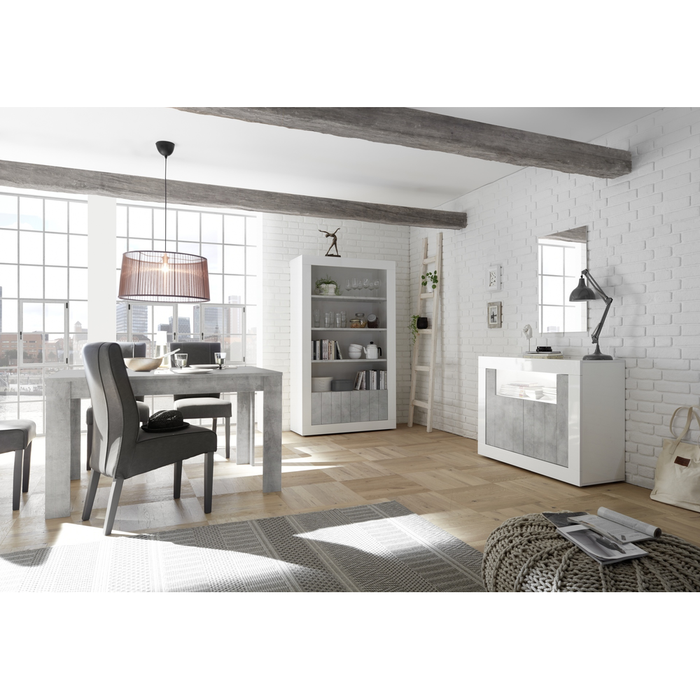Siena 2 Door White Gloss and Concrete Grey Sideboard - FurniComp