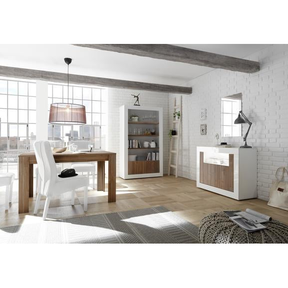 Siena 2 Door White Gloss and Walnut Sideboard - FurniComp