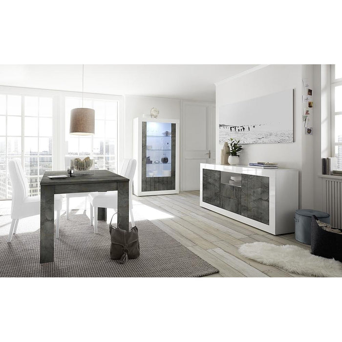 Siena 2 Door White Gloss and Anthracite Sideboard - FurniComp
