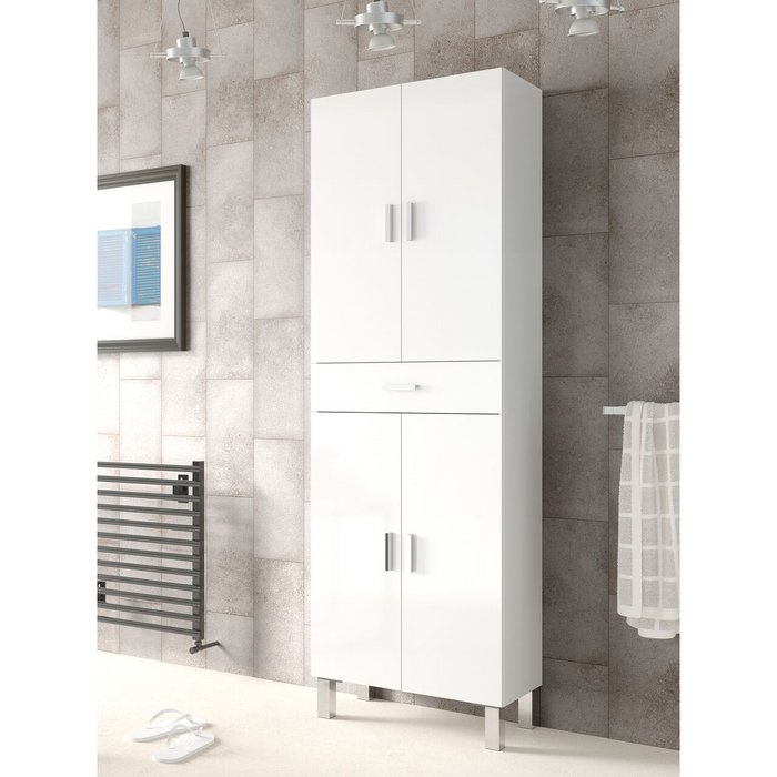 Valdo Tall 4 Door White Gloss Bathroom Storage Cupboard