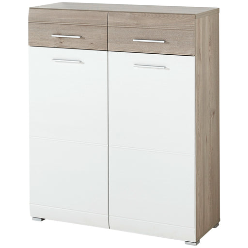 Vegas 2 Drawer 2 Door White and Oak Shoe Cabinet - FurniComp