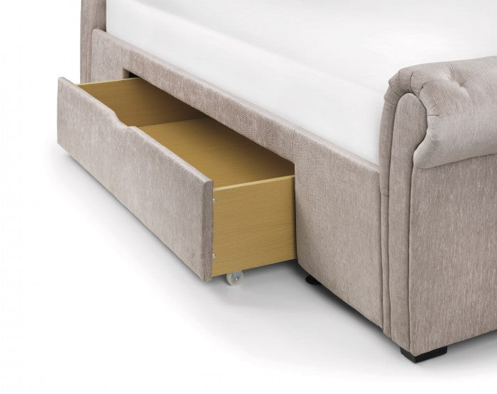 Vieste Mink Chenille Fabric 2 Drawer Bed - FurniComp