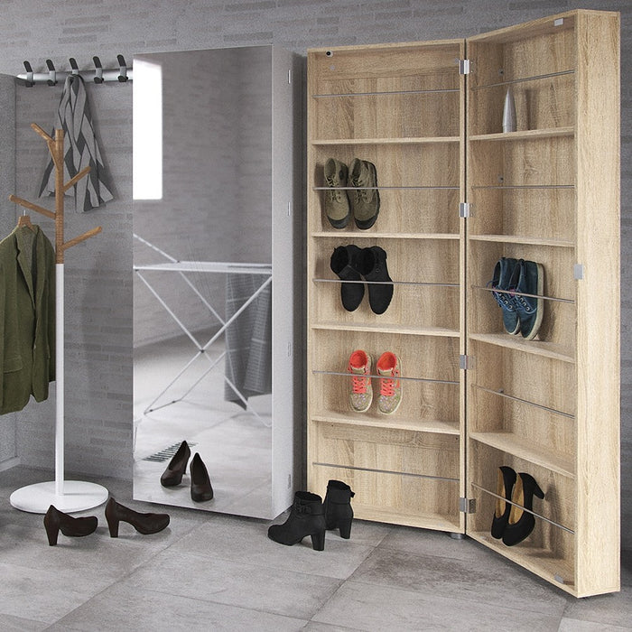 Weimar 1 Door Oak Mirrored Shoe Cabinet - FurniComp