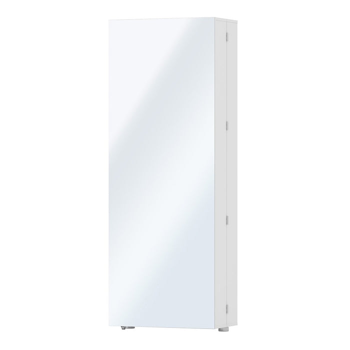 Weimar 1 Door White Mirrored Shoe Cabinet - FurniComp