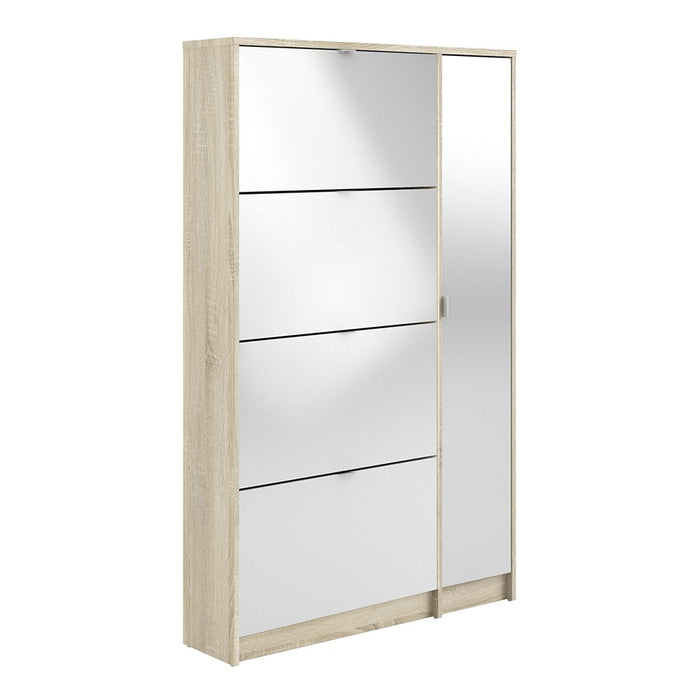 Weimar 4 Compartments and 1 Door Oak and White Gloss 2 Layer Mirrored Shoe Cabinet - FurniComp