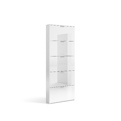 Zapper 5 Door Matte White Tall Shoe Storage Cupboard