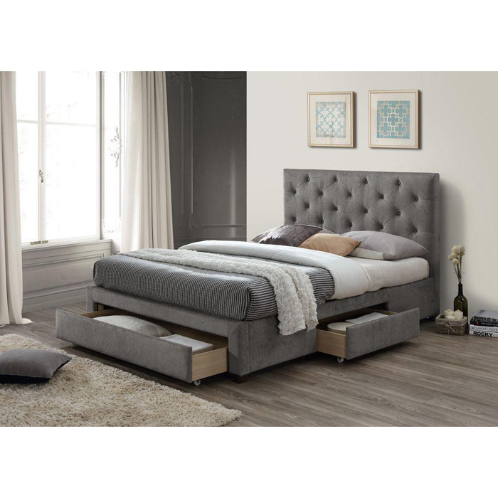 Zara Grey Marl 3 Drawer Fabric Bed Frame - FurniComp