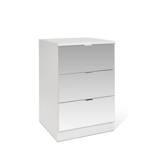 Zoe 3 Drawer White and Mirrored Bedside - FurniComp