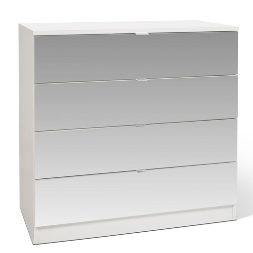 Zoe 4 Drawer White and Mirrored Chest of Drawer - FurniComp